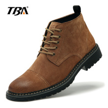 2018 Tba 3060# new men's spring fashion shoes male short boots outdoor trend genuine leather tooling Walking Shoes platform male