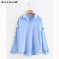 XUANCHURANWEN Autumn Ladies Tops Long Sleeve Button Blouse Casual Plus Size Loose Shirts Patchwork Blouse Office