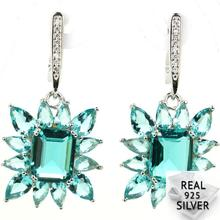 6.9g Real 925 Solid Sterling Silver Deluxe Rich Blue Aquamarine W CZ Present Earrings 38x18mm