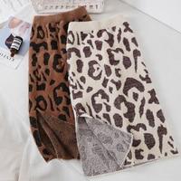 chic Leopard print Imitation mink Split knitting skirt