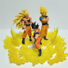 Dragon Ball Z Super Saiyan Goku Figurine DIY Set PVC Model Action Figure Anime Dragon Ball Super 3 Stage Goku Collectible Toys(China)