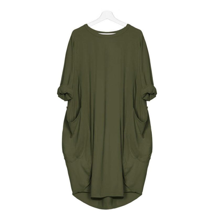 Women's Fashion Dress Womens Pocket Loose Dress Ladies Crew Neck Casual Long Tops Dresses Plus Size augu10