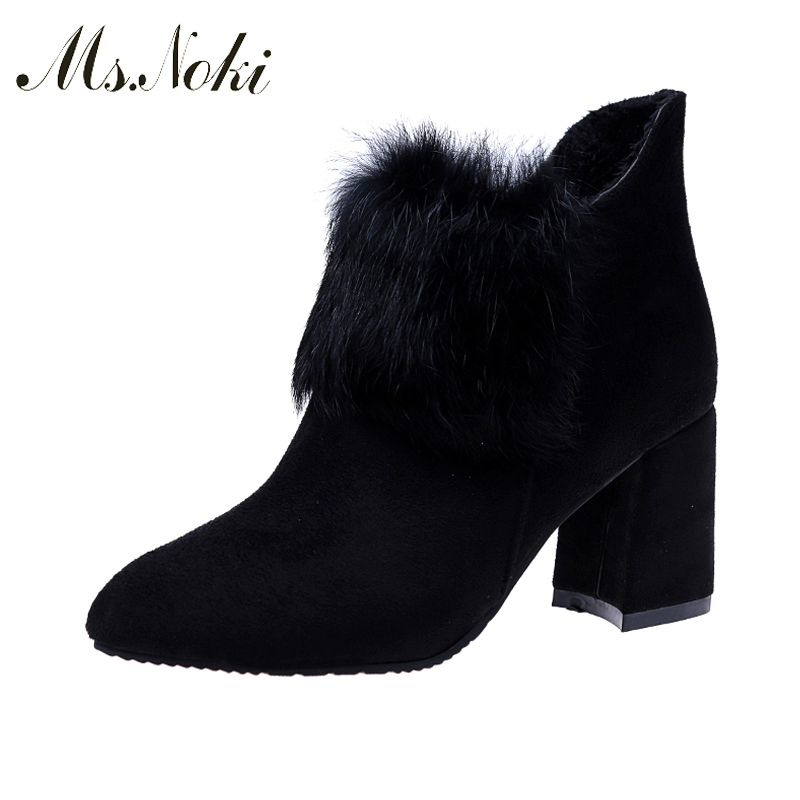 New!!!!!Ms. Noki Sexy Women Boots Winter High Heels Ankle Boots Shoes Women Pointed Toe Ladies Short Boots Snow Fur Zip Shoes стоимость