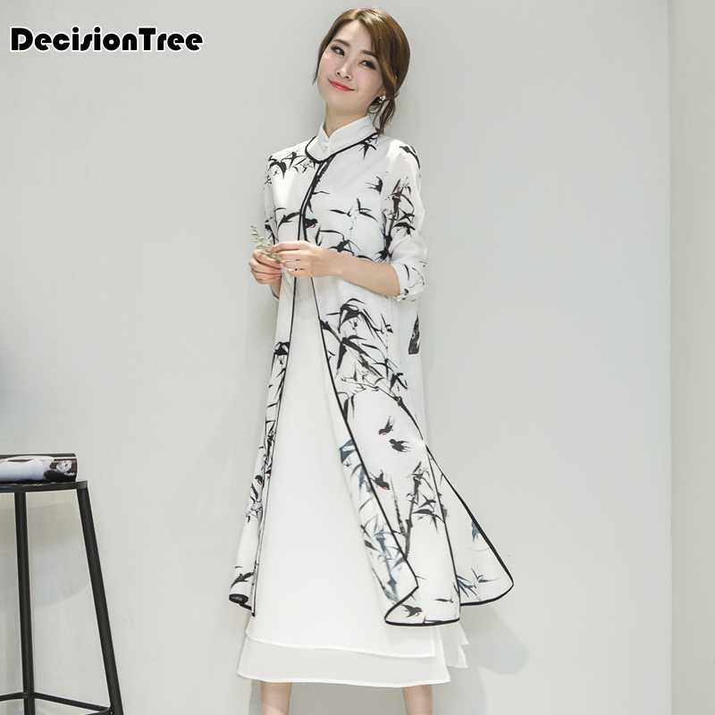 2019 women's satin cheongsam evening dress chinese oriental qipao dresses traditional chinese ink painting retro dress