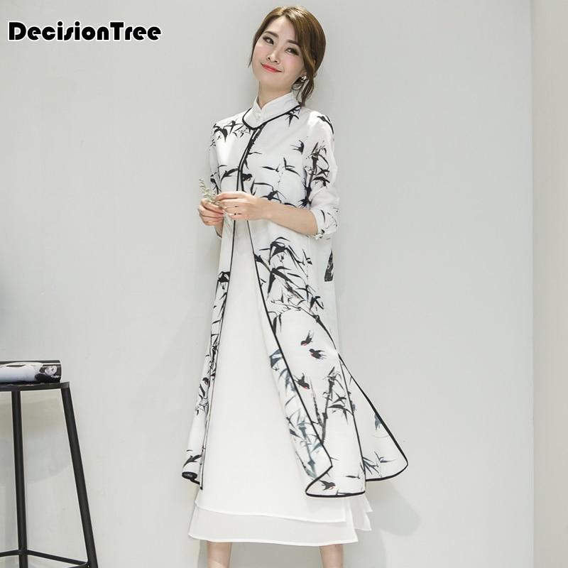 2019 new women's satin cheongsam evening dress chinese oriental qipao dresses traditional chinese ink painting retro dress