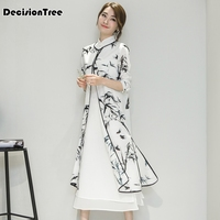 2019 summer women's satin cheongsam evening dress chinese oriental qipao dresses traditional chinese ink painting retro dress