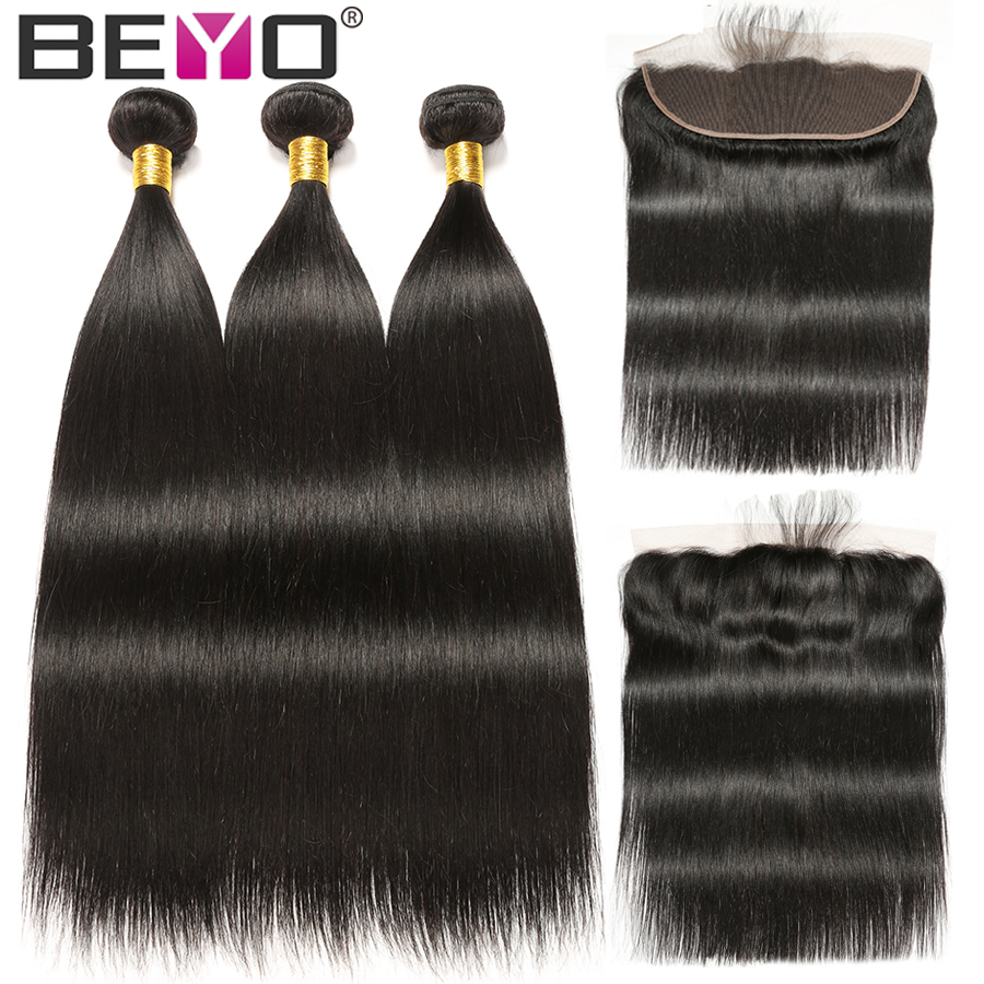 Beyo Straight Hair Bundles With Frontal Human Hair Bundles With Closure Brazilian Hair Weave Bundles With