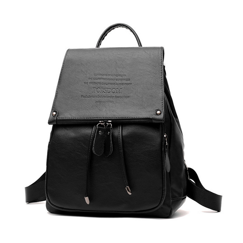 YGDB Brand Women Backpack Black PU Leather Mochila Escolar School Bags For Teenagers Casual Girls Top-handle Backpacks Purse 760
