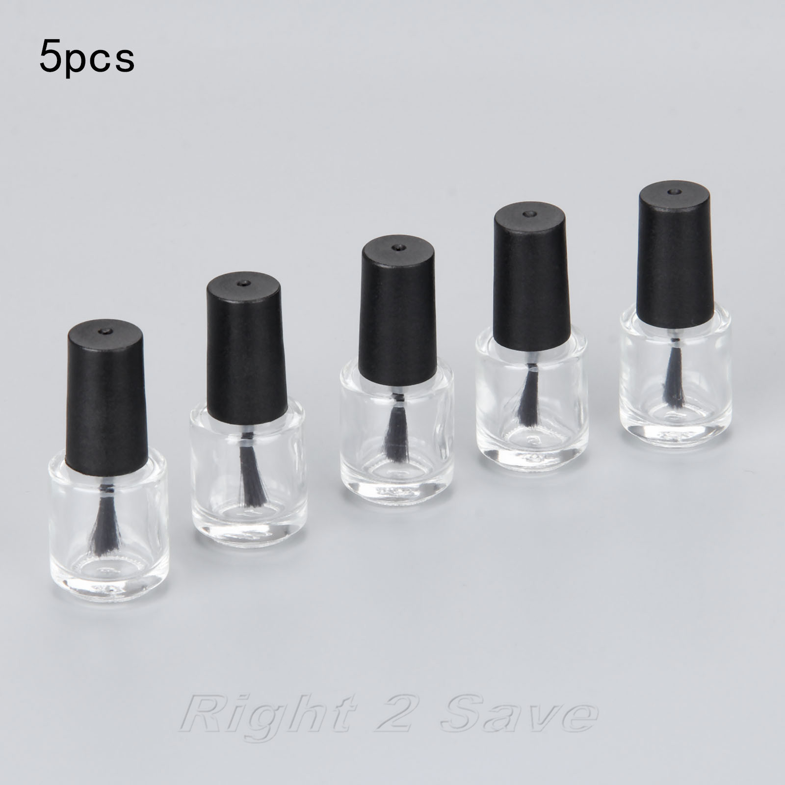 5PCS/lot 5ML Nail Polish Bottle With Brush Refillable Empty Cosmetic Containor Transparent Glass Bottle Nail Art Manicure Tool