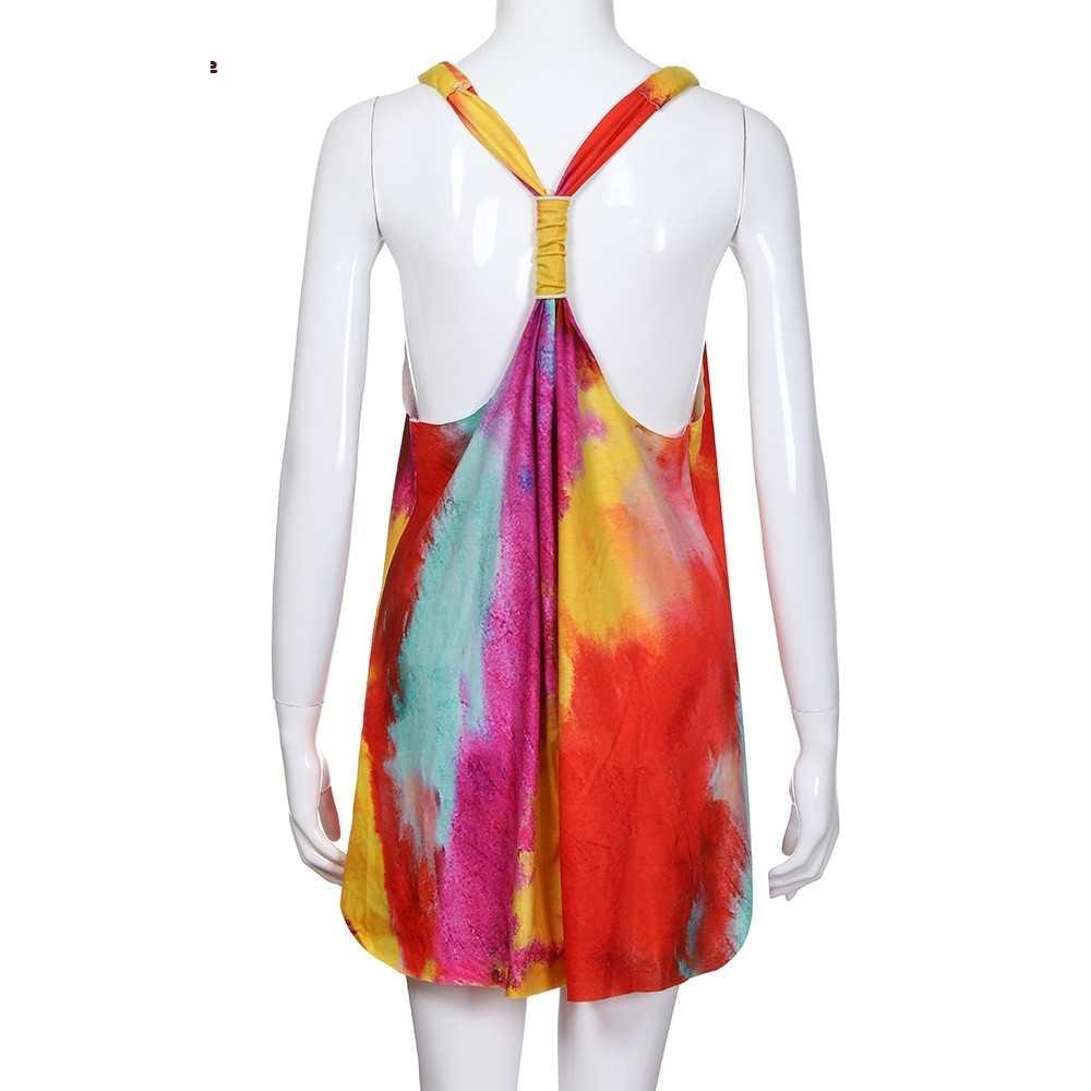 נשים של שרוולים V צוואר עניבה לצבוע טוניקת חולצות מזדמן נדנדה טי חולצה שמלת G2