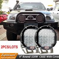 Super Bright 9 Inch 320W Red Black Led Work Lights For Wrangler Hilux Offroad Truck 12V