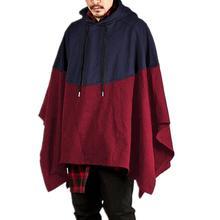 Мужское пончо с капюшоном, необычная Повседневная Толстовка с капюшоном, джемпер, пуловер, плащ-манто, пальто, праздничная одежда, мужская одежда