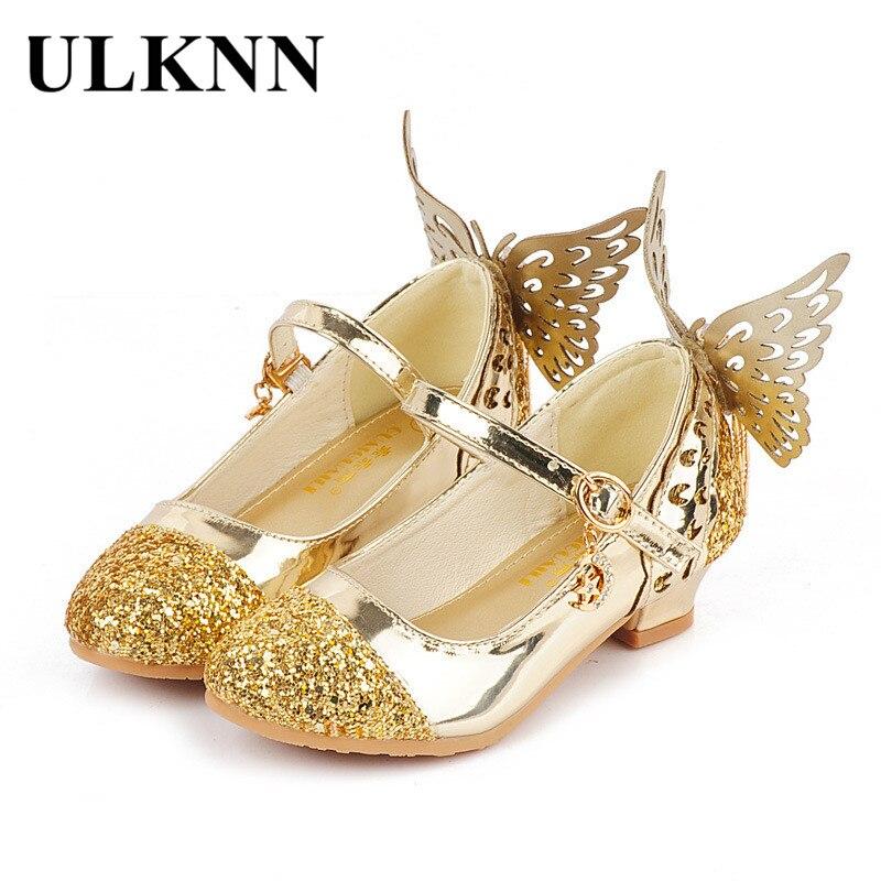 Ulknn маленьких Туфли принцессы для девочек Сандалии для девочек для детей Блеск Бабочка на низком каблуке детей Обувь для девочек партии Enfant meisjes schoenen