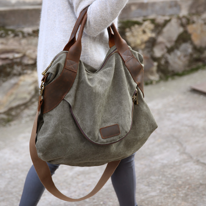 2019 จัดส่งฟรีขนาดใหญ่กระเป๋าสตรีกระเป๋าถือกระเป๋าถือ cross   body กระเป๋าถือหนังผ้าใบขนาดใหญ่ความจุกระเป๋าสำหรับผู้หญิง-ใน กระเป๋าสะพายไหล่ จาก สัมภาระและกระเป๋า บน   1