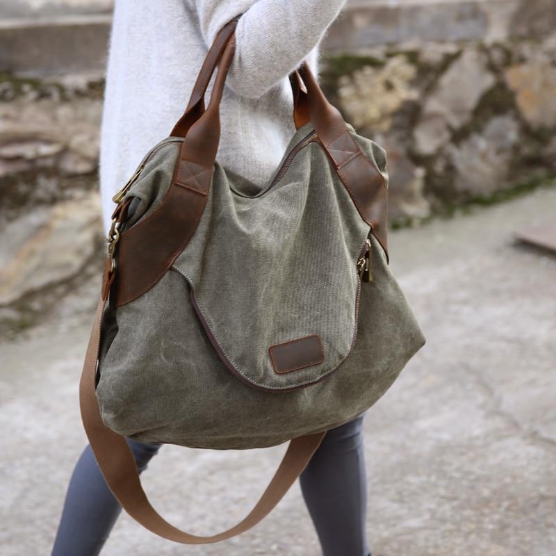 2019 di TRASPORTO LIBERO grande tasca casuale delle donne borsa a tracolla della borsa cross body borse di tela in pelle di grande capacità per delle donne-in Borse a tracolla da Valigie e borse su  Gruppo 1