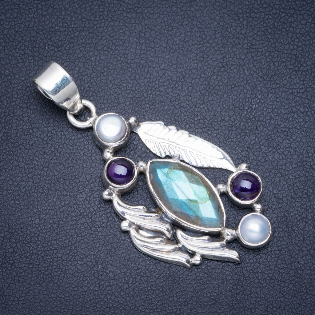 Natural Labradorite,Amethyst and River Pearl Handmade Unique 925 Sterling Silver Pendant 2 A0224Natural Labradorite,Amethyst and River Pearl Handmade Unique 925 Sterling Silver Pendant 2 A0224