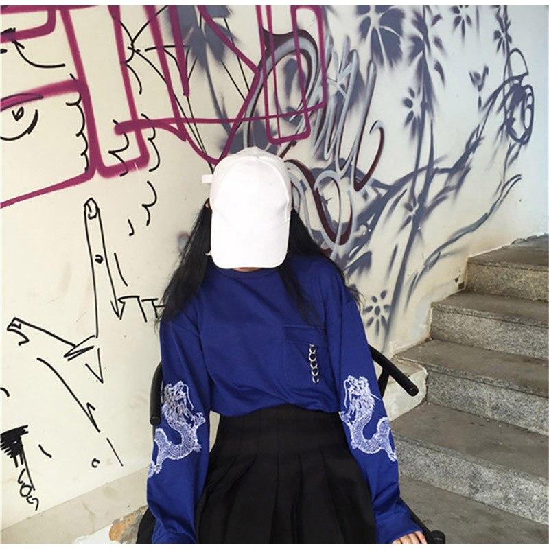Feminino preto bordado camisola de manga longa