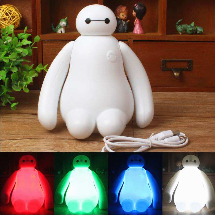 RGBW Color Changing Baymax Cartoon LED Night Light Baby Room Kids Bed Lamp Sleeping Desk Lamp Decoration Rechargeable Table Lamp стоимость