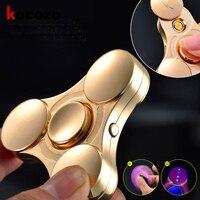 1 Pc Fidget Spinners Lighter Gold Finger Metal Hand Spinners LED Flash Light Tri Spinner For
