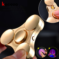 1 Pc Fidget Spinners Lighter Gold Finger Metal Hand Spinners LED Flash Light Tri Spinner For