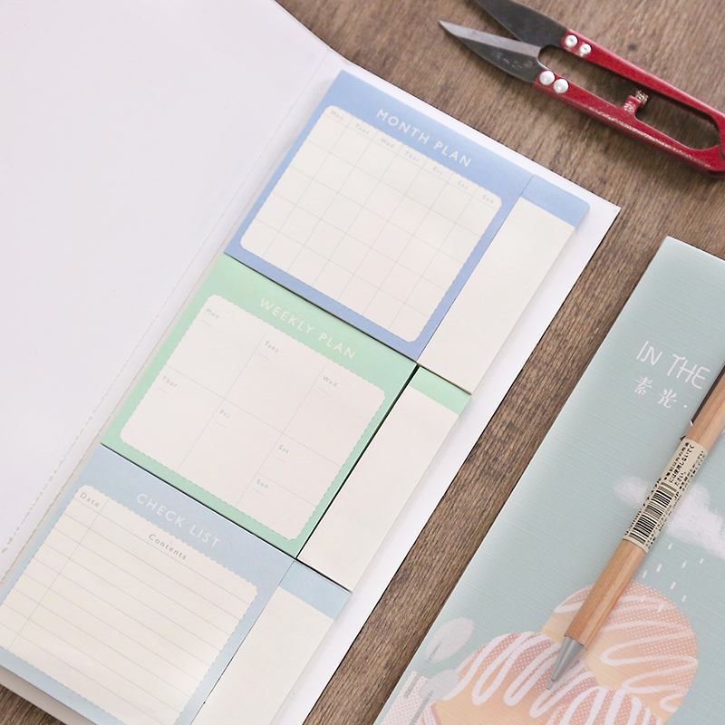 Weekly and Month Plan Memo Pad N Times Sticky Notes School Office Supplies Stationery 6x50 Sheets Post It Notepad