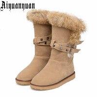2018 Hot sprzedaż zimowe ciepłe buty EUR Rozmiar 36 37 38 39 40 41 42 43 NITY projekt PU skóra Połowy Łydki snow boots FREE WYSYŁKA