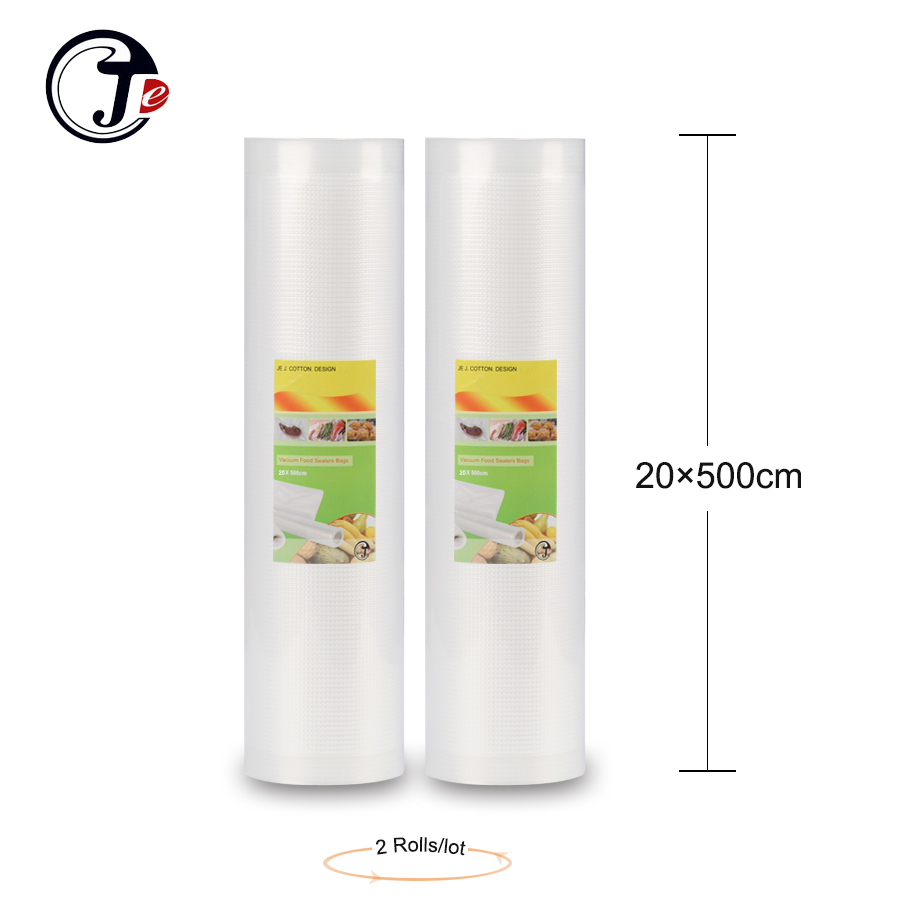 2 roll 20 * 500CM vacuümverpakkingszak Portable Handy Wrappers vacuum food sealer machine tassen voor sealmachine pakketten PA + PE