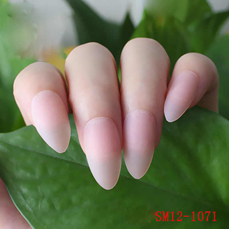 Hot 24pcs Ladies Fake Nails Tips DIY Frosted Matte Drops Shaped False Nails wyt77