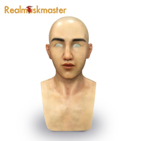 Realmaskmaster fetish silicone halloween male mask artificial realistic latex adult masquerade full face masks