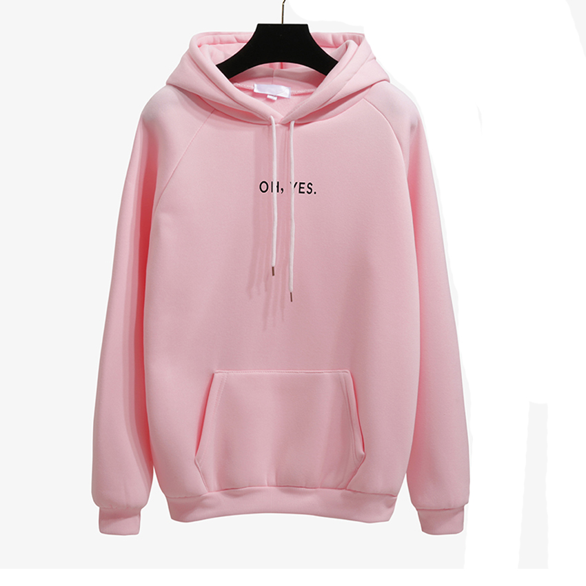 OH YES New Fashion Corduroy Long sleeves Letter Harajuku Print Light pink Pullovers Tops O-neck Women's Hooded sweatshirt tops 15