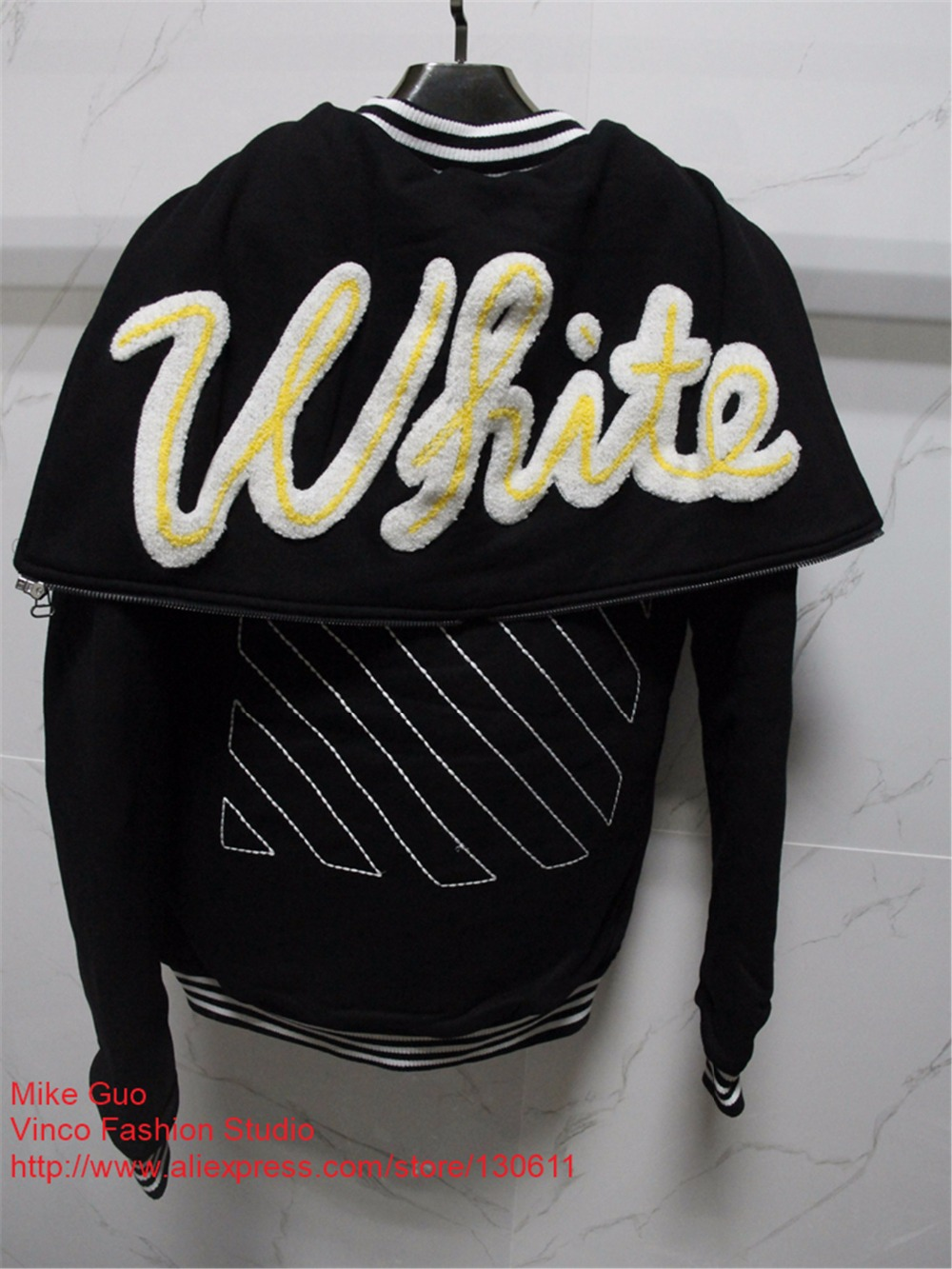 2017 winter Off White embroidery Meadow Striped Letterman Patch Varsity Jacket mens jacket