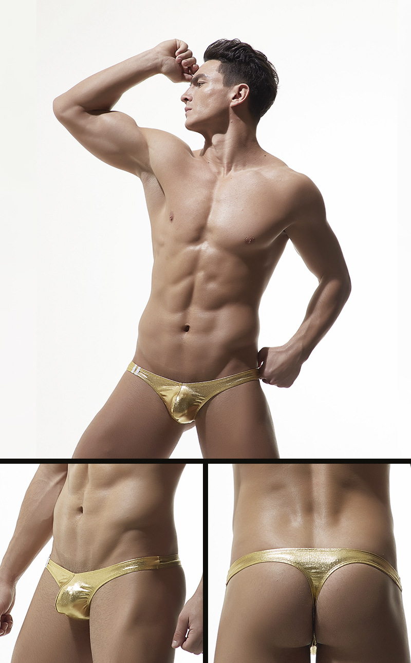 4366ec8a1 Sexy Gay Underwear Men Briefs Shorts Faux Leather T-panties for Man Low  Waist U Convex Pouch Underpa