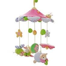 SHILOH Promotion New Hot Musical Mobile Baby Crib Rotating Music Box Plush Doll 60 Songs Bug Rabbit Pink Toy Girl Boy Crib Toy