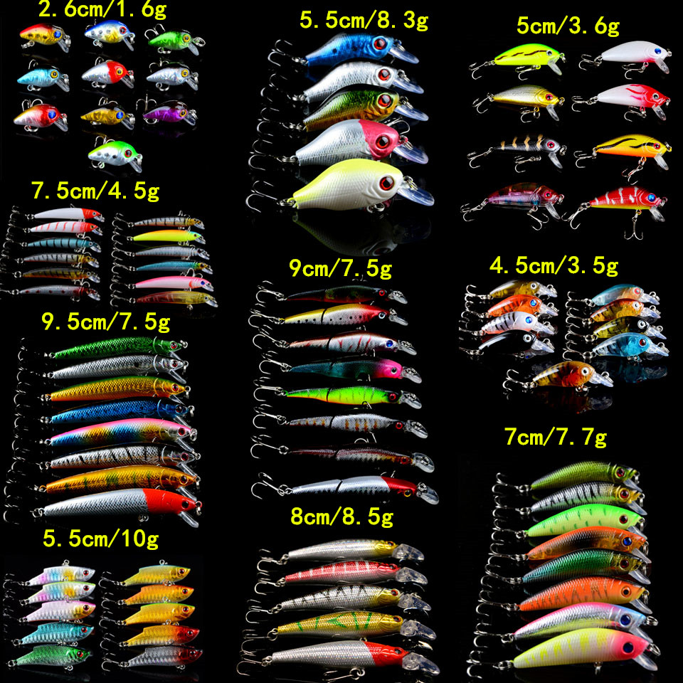 83pcs lot Fishing Lures Set Mixed 10 Varisized Model Fishing Bait 83 Colors High Quality Minnow