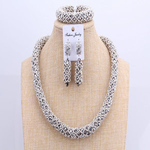 Image 3 - 3 Layers African jewelry sets Wedding Silver Crystal Beads Jewelry Sets Elegant Nigerian Wedding Necklace Jewelry Set Brand New