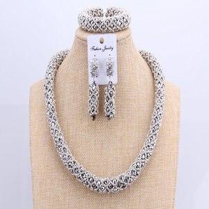 Image 3 - 3 schichten Afrikanischen schmuck sets Hochzeit Silber Kristall Perlen Schmuck Sets Elegante Nigerian Hochzeit Halskette Schmuck Set Marke Neue