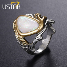 USTAR Created Opal Stone Antique Silver Plated Vine Leaf Finger Rings for women jewelry Wedding Female Accessories Anel