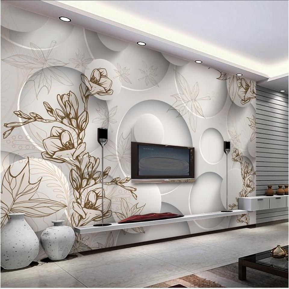 3d photo wallpaper custom living room mural 3d circle maple leaves ...