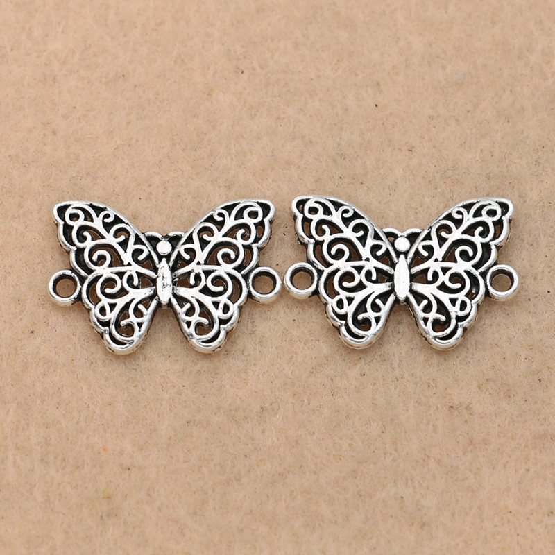 15pcs Tibetan Silver Plated Butterfly Connector For Jewelry Making Bracelet Necklace Handmade Jewelry Accessories DIY 20x13mm