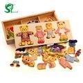 Juguetes de madera para niños rompecabezas pequeño oso ropa de cambio de Escena de juegos de Vestir Rompecabezas Educativos Juguetes Para Niños envío gratis