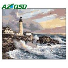hot deal buy azqsd seaside lighthouse paint by numbers home decor frameless 40x50cm acrylic modular digital oil painting home decor szyh160