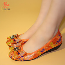 African ladies banquet dance flat shoes Italian style soft bottom Orange Black color Big size