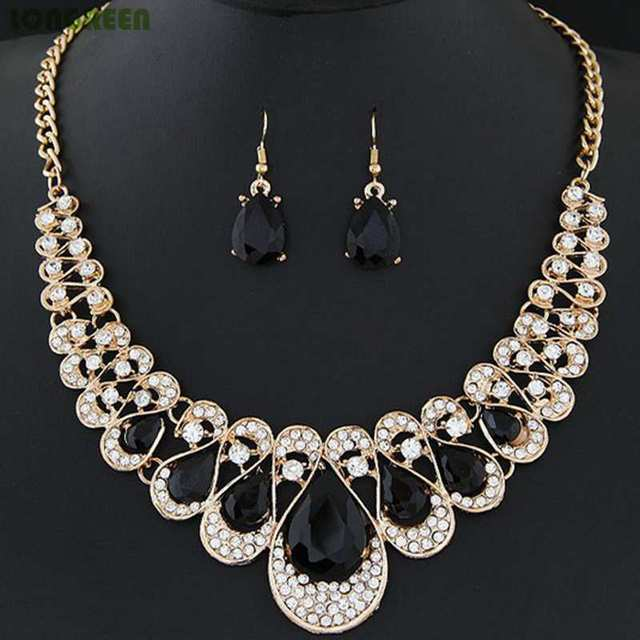 Multicolor Crystal Zircon Water Drop Jewelry Sets for Women Bridal Wedding bijoux africain parures 2
