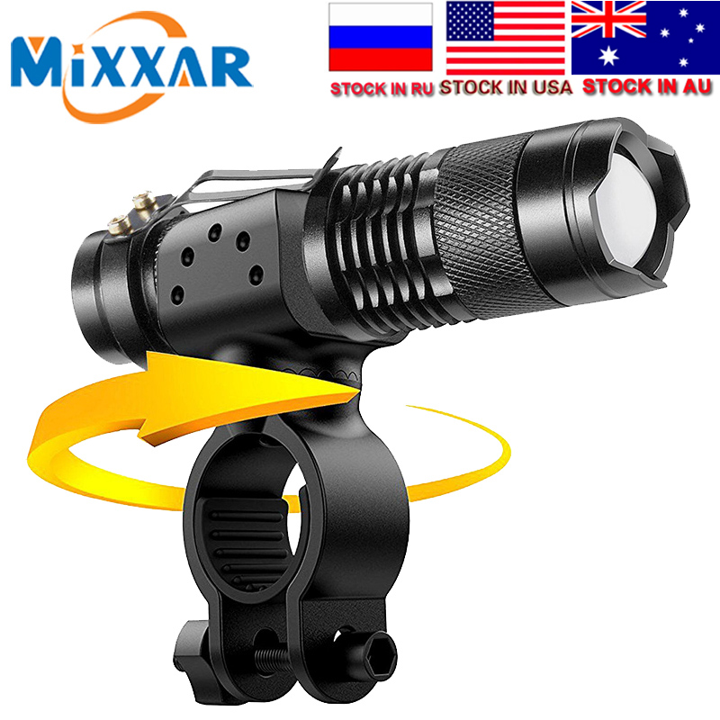 Torch Flashlight Lamp Led-Bike-Lights Cycling ZK30 Lumens 3-Modes Waterproof Zoomable