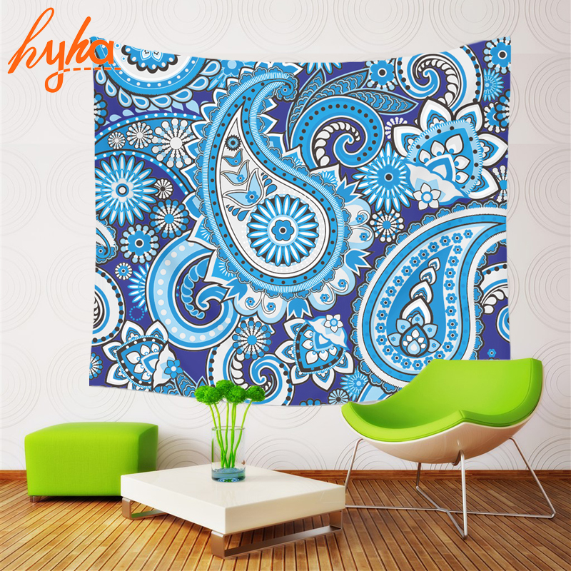 Hyha Polyester Tapestry Mandala Bohemian Flower 130x150cm Wall Hanging Flower Mandala Beach Blanket Room Divider Yoga Beach