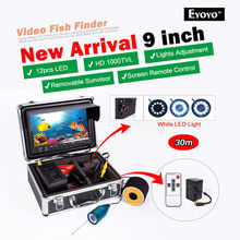 EYOYO Original 30M Depth Underwater Fishing Camera 9″ LCD Color Display While Light LED Fish Finder +Cell Box&Remote Control