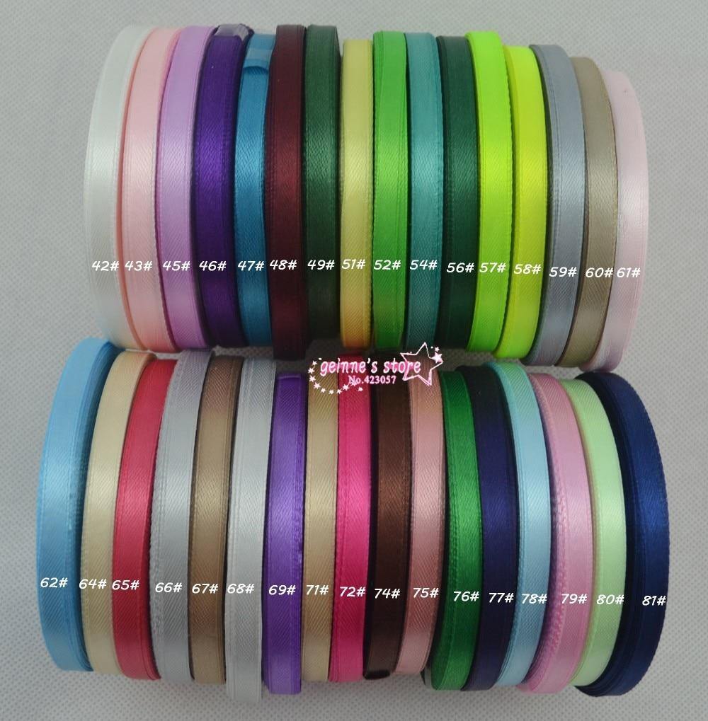 Новое поступление-1/4 ''(6 мм) односторонняя сатиновая лента из полиэстера 10 рулонов(25 рулонов/рулонов) микс 10 цветов 120 цветов на выбор