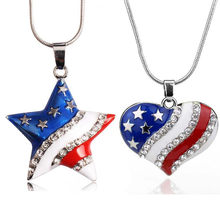 2019 Women's Fashion Rhinestones Geometric Type Flag Pendant Necklaces Clavicular Chain Jewelry Ornament Gift Bijoux Femme(China)