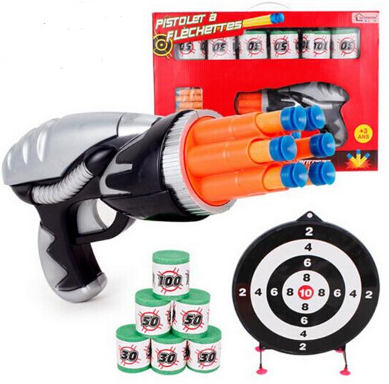 Gran Regalo Juego de Pistola de Aire Pistola de Tiro Suave y Juguetes de Plástico Pistola De Bala Suave