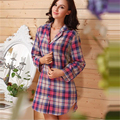 Women Sleepshirts Cotton Sleepwear Ladies Sleep Shirt Long Sleeve Plaid Night Shirt Boyfriend British Style Button Pjs Shirt